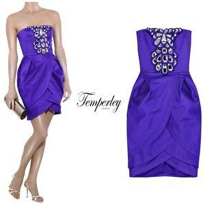Temperly London Embellished Strapless Satin Dress